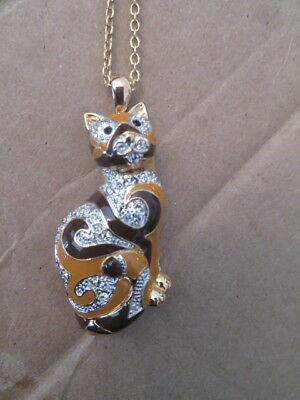 """Calico Cat Pin Pendant with 18.5"""" Chain"""