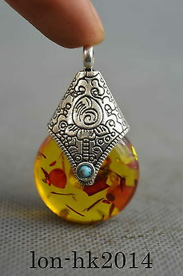 Collectible Handwork Miao Silver Carve Flower Inlay Amber Lucky Delicate Pendant