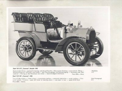 1902 Opel 10/12HP ORIGINAL Factory Photograph wy5348