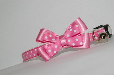 Rose Pink White Spots Bow Breakaway Quick Release Cat Collar
