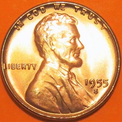 1955-S 1C RD Lincoln Cent RED GEM CHOICE