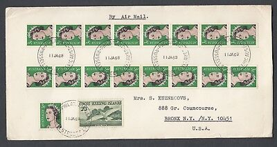 1968 Cover to USA, franked 3c QEII coil x 17 + COCOS ISLANDS 2/3d White Tern