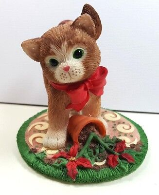 Calico Kitten Cat Christmas Poinsettia Pruning Retired Vintage 2001