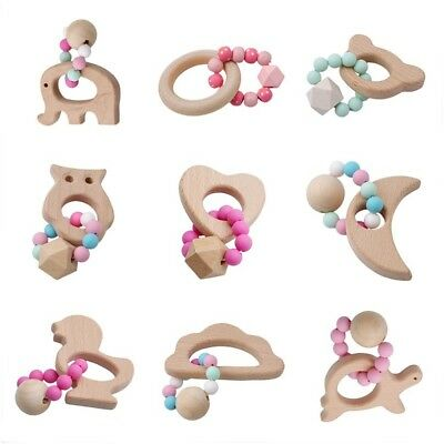 Baby Animal Shaped Wooden Silicone Beads Teether Ring Teething Bracelet Toy Gift