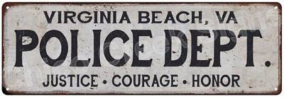 VIRGINIA BEACH, VA POLICE DEPT. Vintage Look Metal Sign Chic Decor Retro 6182767