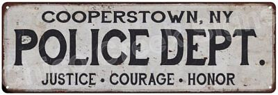 COOPERSTOWN, NY POLICE DEPT. Vintage Look Metal Sign Chic Decor Retro 6183230