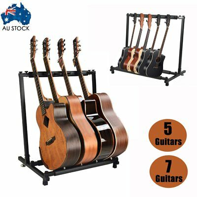 5 Guitars Guitar Stand Stylish Tidy Storage Rack Fits Metal Padded Foam AU XT