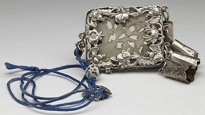 Antique Chinese Silver Mounted Carved Jade Pendant C.1900