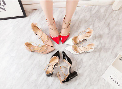 Women's shoes clinch bolt Middle heel high heels Pointed women's sandals New