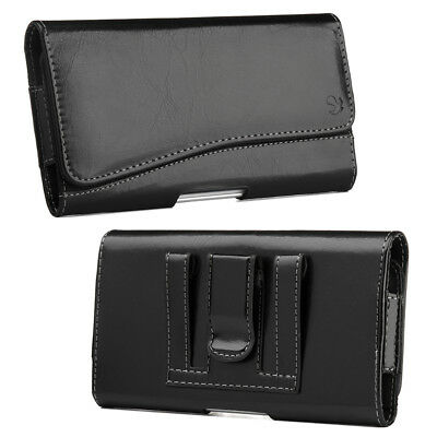 for iPhone X / XS - HORIZONTAL BLACK Leather Pouch Holder Belt Clip Holster Case