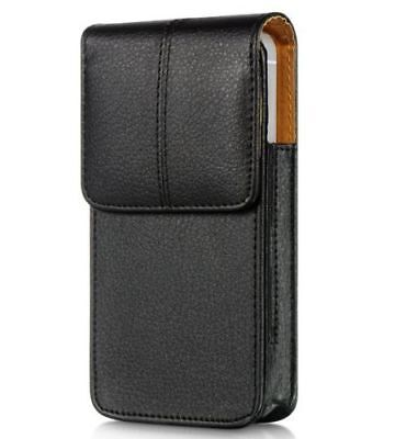 iPhone X / XS - VERTICAL BLACK Leather Pouch Holder Belt Clip Loop Holster Case