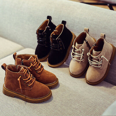 Child Fashion Boys Girls Martin Boots Leather Sneakers Kids Baby Shoes Moccasins