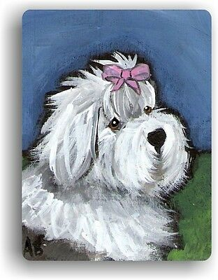 CERAMIC TILE MAGNET RECTANGULAR OLD ENGLISH SHEEPDOG  GUSSIED UP  by Amy Bolin