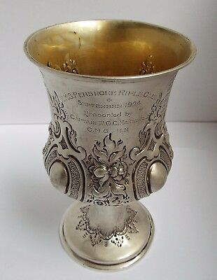 Lovely Large Decorative English Antique Victorian 1859 Solid Silver Wine Goblet
