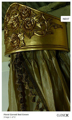 Carved Rococo Mahogany Floral Bed Crown Brand New French Louis Style Gilt Gold