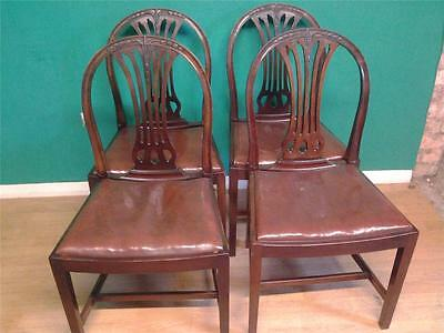 Set of four 4 mahogany Sheraton   style dining chairs
