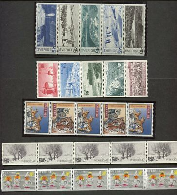 Sweden Collection of 25 Stamps - 5 x Strips of 5  MUH