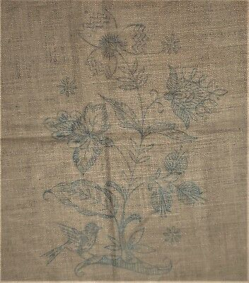 Jacobean Floral Vtg Part Kit Yarn & Linen Fabric Stamped for Crewel Embroidery