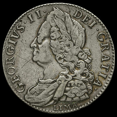 1746 George II Early Milled Silver Lima Half Crown