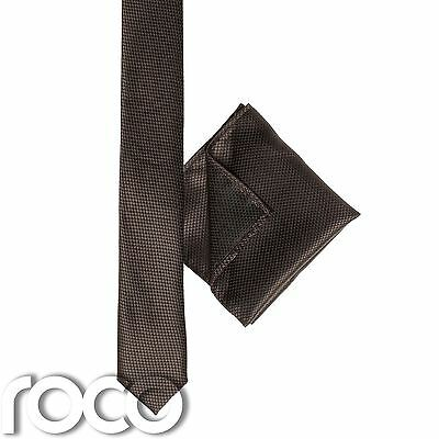 Boys Brown Pocket Square, Boys Brown Tie, Skinny Tie, Snake Skin Tie