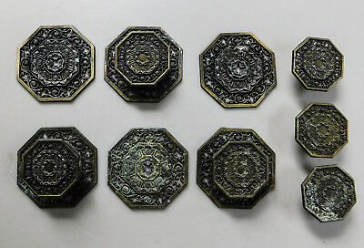 6 Vintage Ornate Metal Drawer Pulls Plates Knobs Gold Black Mid Century