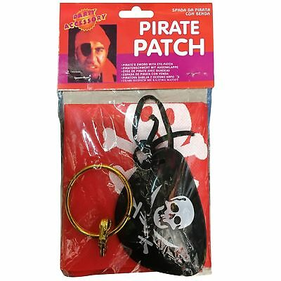 Halloween Fancy Dress Pirate Kit Eye Patch & Earing Trick Treat Party Theme