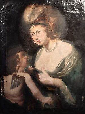 Large 18Th Century Continental Old Master Oil Painting - Venus & Cupid At Breast