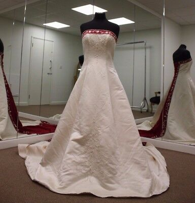 Ivory And Red Wedding Dress Size 14 Picclick Uk