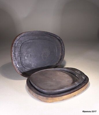 Antique Chinese Scholar's Ink Stone & Carved Wood Box 1800s Mi Si