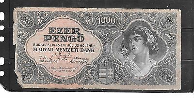 Hungary #118 1945 1000 Pengo Old Good Used Banknote Paper Money  Note