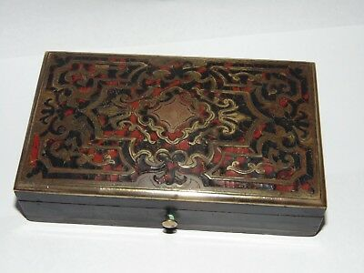 BEAUTIFUL LITTLE ANTIQUE 1800's FRENCH BOULLE INTRICATE BRASS INLAID BOX
