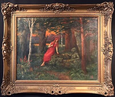 LARGE 19thC EUROPEAN SIGNED OIL PAINTING DAMSEL IN WOODS WITH MYTHICAL CREATURE