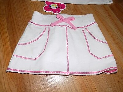 Toddler Size 2T Specialty Girl Solid White Skort Skirt with Pink Stitching New