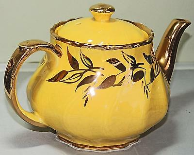 VINTAGE BRITISH TEAPOT BRIGHT YELLOW with GILDED DECO, SUDLOW POTTERY, NUMBERED