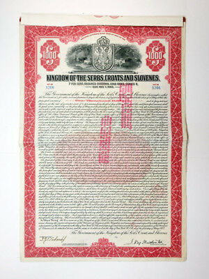 Kingdom of the Serbs, Croats and Slovenes 1922 Issued Bond