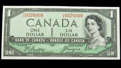 1954 Bank of Canada $1 Dollar Devil's Face Note - Choice CU - KM.66b