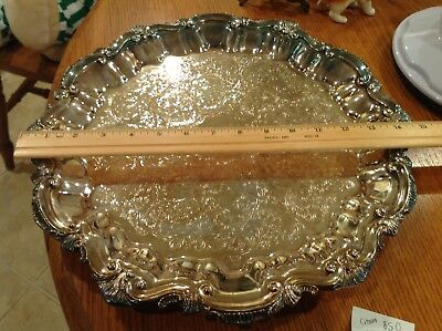 "15""  VINTAGE  crown LARGE SILVER PLATED ORNATE FOOTED DRINKS TRAY"
