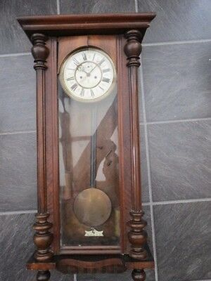 Very Large Antique Gustav Becker Vienna Twin Weight Wall Clock For Restoration