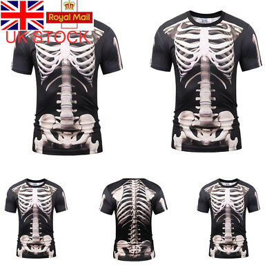 UK Mens Skeleton Horror Halloween Tee Stylish Summer T-shirt Casual TopS XL-3XL