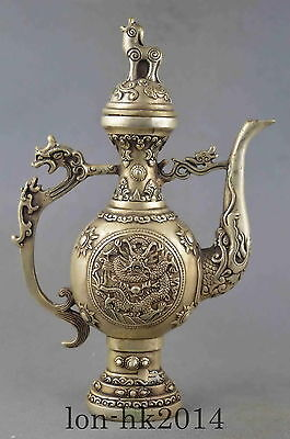Collectible Handwork Miao Silver Carving Mythology Dragon Exorcism Lucky Tea Pot