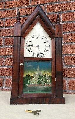 Running Seth Thomas Antique Wood Mantle Clock Reverse Painting Chimes Ships FAST