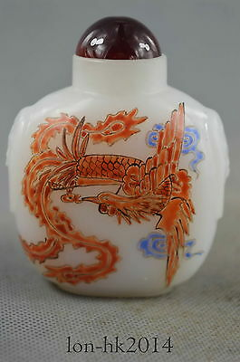 Collectible Handwork Agate Carve Fly Phoenix Royal Auspicious Noble Snuff Bottle