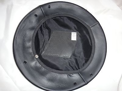 Black Color Leather MILITARY SERVICE CAP COVER Fits Size 7-5/8 *New, Never Used*