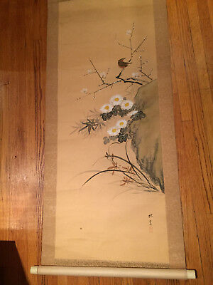 """Vintage Hand-Painted Chinese Scroll / Wall Hanging (69"""" x 20"""") Signed"""