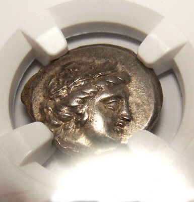NGC AU.Oceanid Nymph Histiaia, daughter of Hyrieus on ship stern.Rare Greek coin