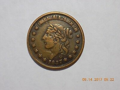 1837 MILLIONS FOR DEFENCE - NOT ONE CENT FOR TRIBUTE Hard Times Token - F/VF