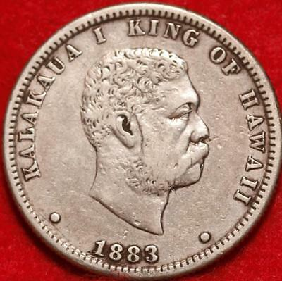 1883 Hawaii 25 Cents Silver Foreign Coin Free Shipping