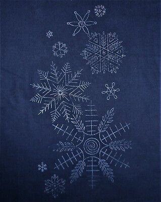 Snow Snowflake Christmas Vtg Stamped Fabric & Yarn Part Crewel Embroidery Kit