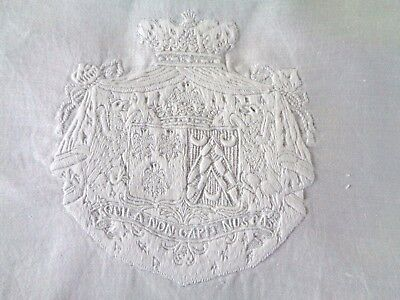 Collection Antique Napkin 19 Hand Embroidered Monograms Crown Coat Of Arms Flag