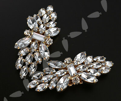 Pair Rhinestone Crystal Flower Shoe Clips Tone Buckle Wedding Bridal Party Decor